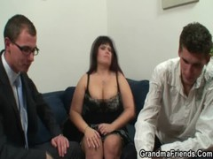 Lovely 3some with old busty lady