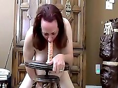 Gaging On A Dildo And Cumming