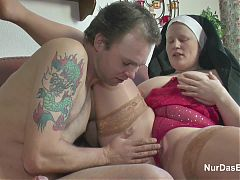 German Young Boy seduce Granny Nun to Fuck Him