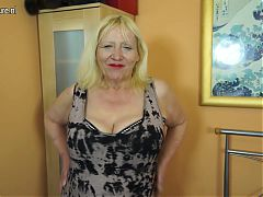 Raunchy British granny playing with her hairy snatch