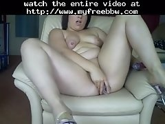Chubby german babe fucks her ass and pussy with dildos
