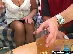 Partying guys lure granny into threesome