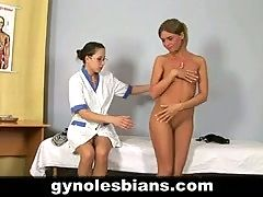 Lesbian gynecologist examines her hot patient