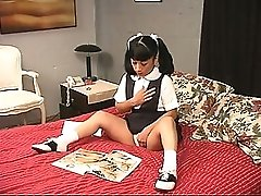 Brunette school girl plays with her pussy for her master