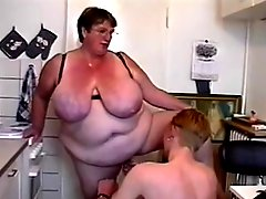BBW Threesome #6 FAT Granny & Two Young Guys