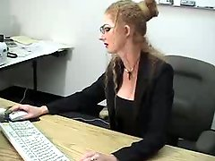 Sexy Blonde MILF squirts in the office