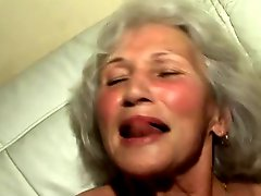 Banging the granny's hairy pussy