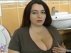 Busty fat woman goes crazy sucking on an hard cock by o