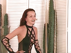 Wild brunette nympho wears dom outfit and shows herself