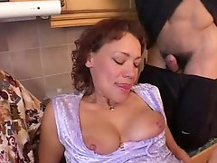 Mom with saggy tits & 4 guys