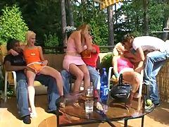 3 czech horny girls in a garden orgy