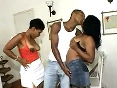Brazilian mature and young 3some