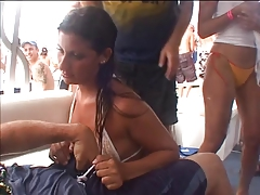 Horny girl having sex to a stranger in yacht