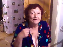 Russian grandmother dancing