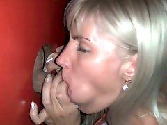 Amateur blonde milf sucks stranger at gloryhole 1