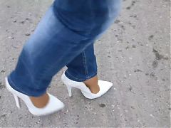 15cm High Heels Pumps Nylons Jeans Walk