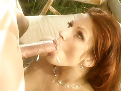 Horny red head milf with hairy pussy and hard nipples