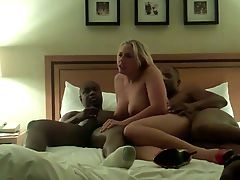 Blonde wife fucked by two black lovers
