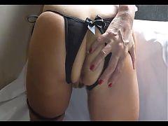 Crotchless panty mature masturbates