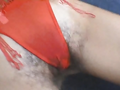 Hairy Woman In A Red Bikini Takes It The Ass