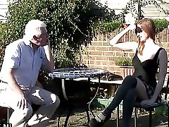 Grandpa fucks a busty teen outdoor