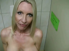 BLONDE MILF EMMA FUCKS STRANGER IN BATHROOM