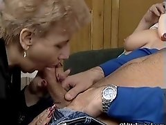 Dirty blonde housewife sucks on an hard cock in a 3some