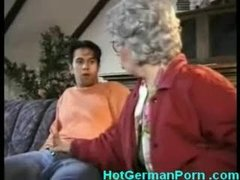German grandmother catches her boy masturbating and fucks him