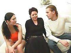 Mature woman and teen enjoy a lucky guy!