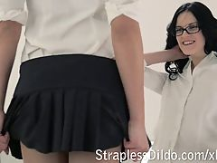 College girls dress up pantyhose and get strapon