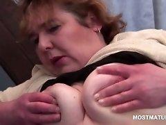 Blonde slutty mature rubbing cunt in her red panties