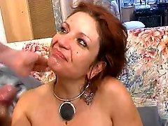 Redhead mature enjoys cock and sperm
