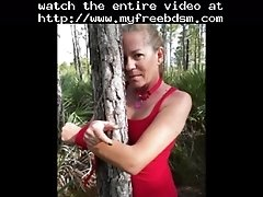 Bound and fucked in the woods bdsm bondage slave femdom