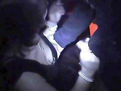 Slutwife gangbanged in dark Adult Theater
