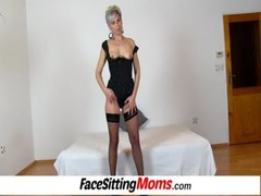 Hot legs amateur lady Beate facesitting young bloke