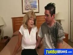 Skinny attractive grandma Cam cum on tits after sex