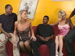 2 blonde hotties take on black cocks