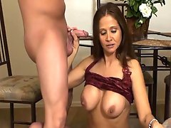 Hot Wife jerking young guy
