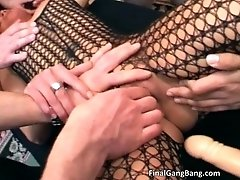 Nasty blonde hoe blows stiff cock and gets pounded hard