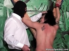 Hot sexy big boobed brunette milf slut gets tied and sp