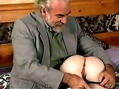 Hot blonde babe caught masturbating spanked on bed