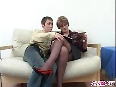 Sexy milf bitch shags with her sons young friend by tro