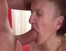 76yr old thin granny marcela sucks fucked and cummed on