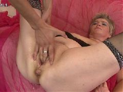 Granny squirts and takes young boy s cock